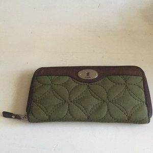 Fossil Wallet Quilted Hunter Green